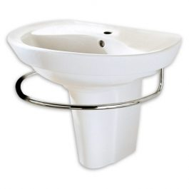 Lavabo con perforación de monomando, semipedestal y toallero Ravenna 0268144352 American Standard