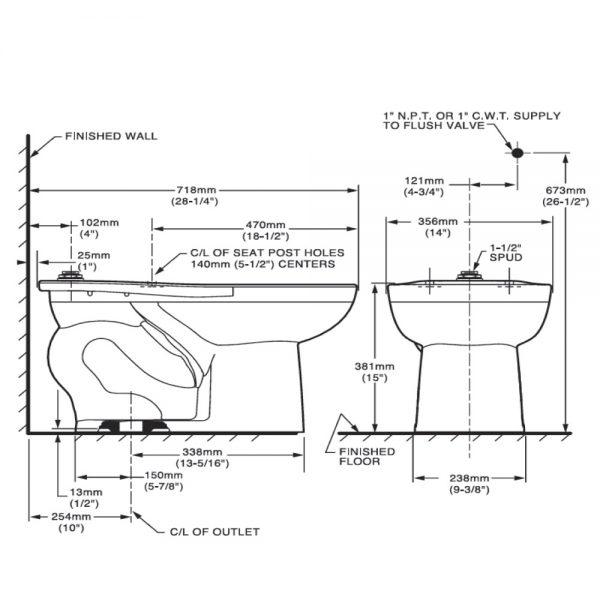 Taza para fluxómetro Cadet Flowise 01230 American Standard